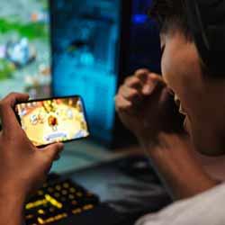 Mobile Gamer Playing Video Game
